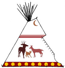 Deer tipi painting - Copyright Assiniboine Tipis