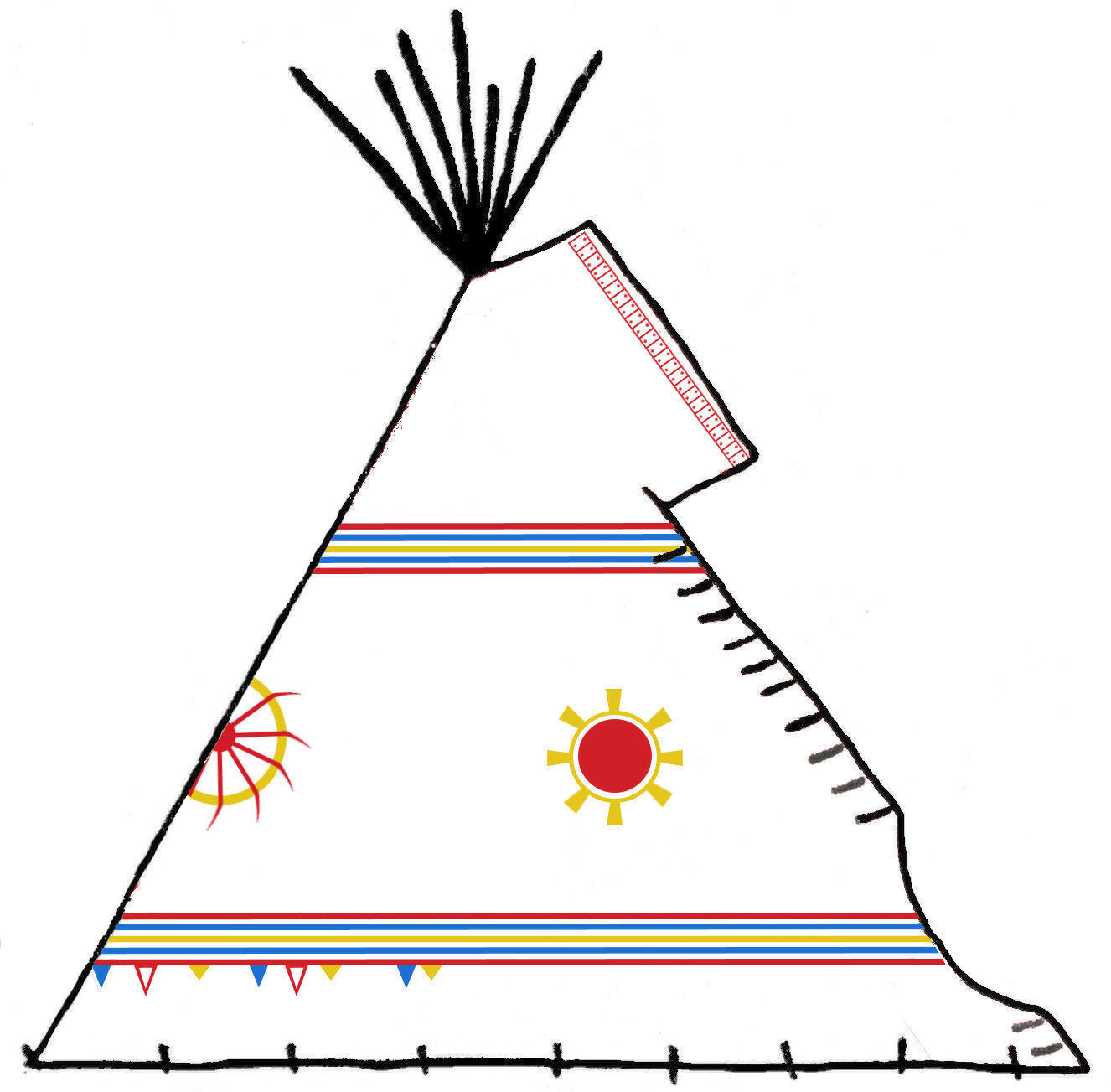 Plains Cree Traditional Teepee Artwork - Copyright Assiniboine Tipis