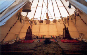 Inside view of a beautiful tipi - Danville 2005
